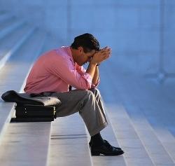 Businessman Thinking on Steps Paris, France